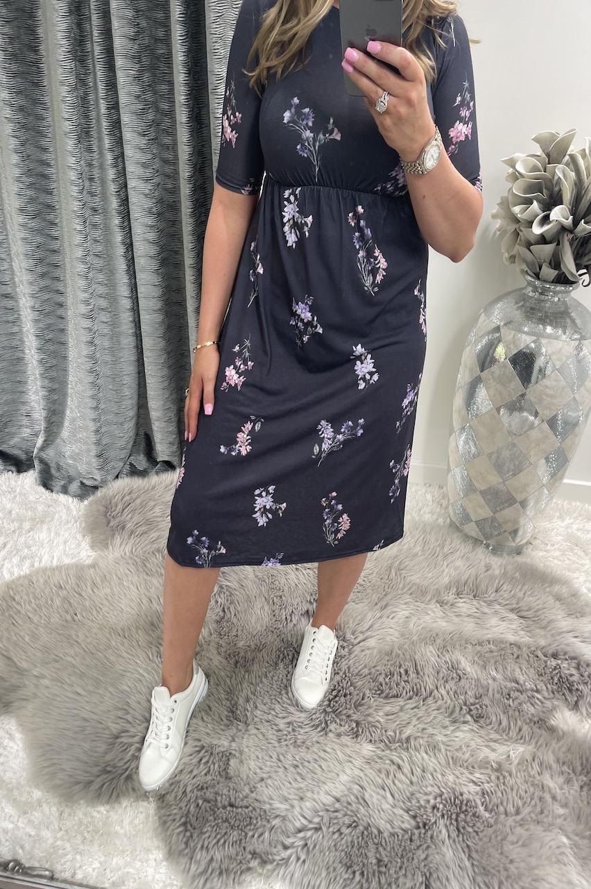 Cynthia Navy Floral Swing Dress