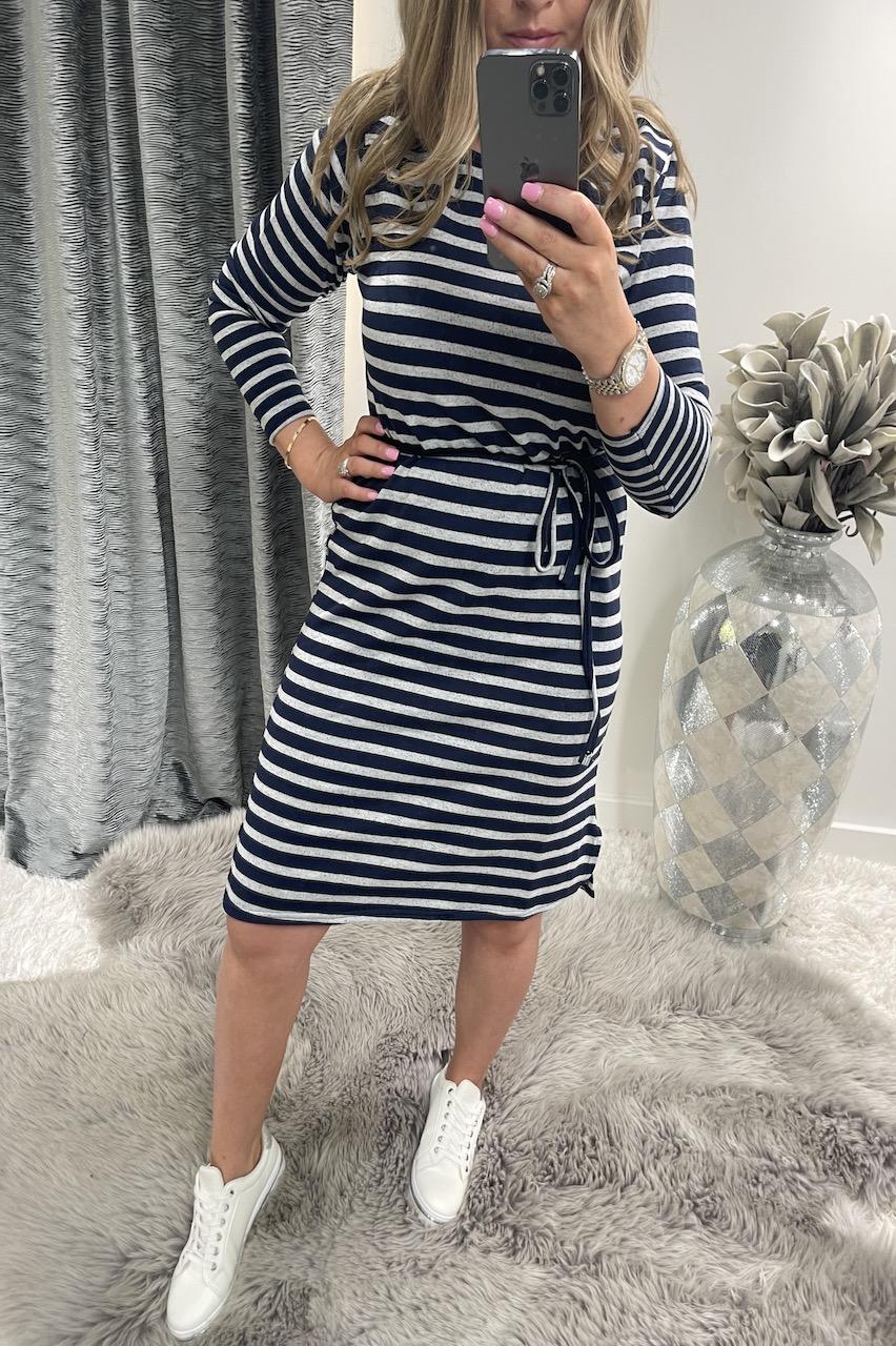 Navy & Grey Stripe Jersey Dress
