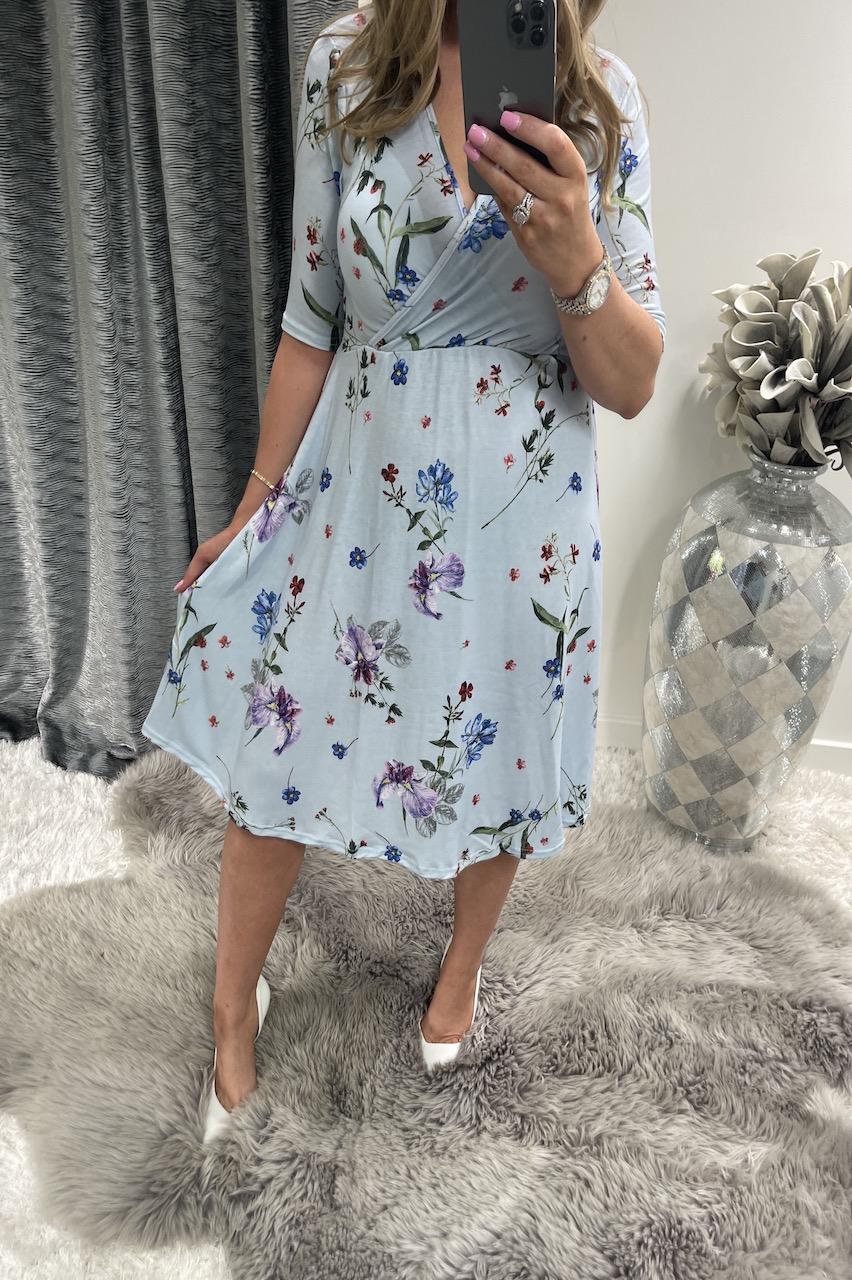 Cordelia Blue 3/4 Sleeve Wrap Skater Dress