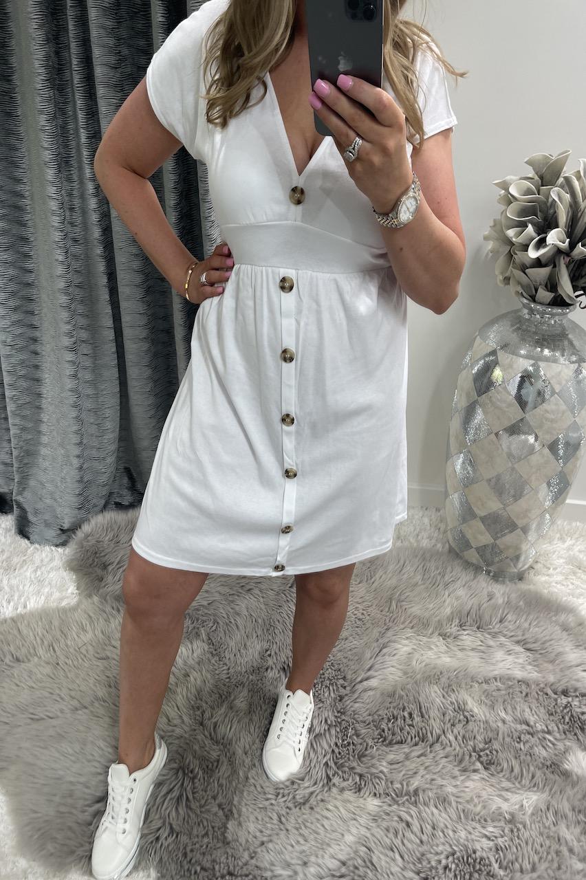 White Button Skater Dress