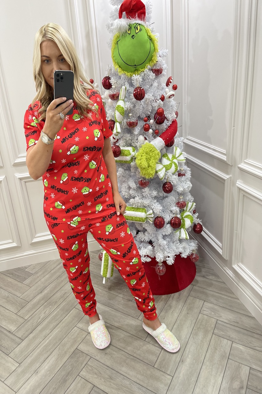 Red Mrs Grinch Christmas PJ's