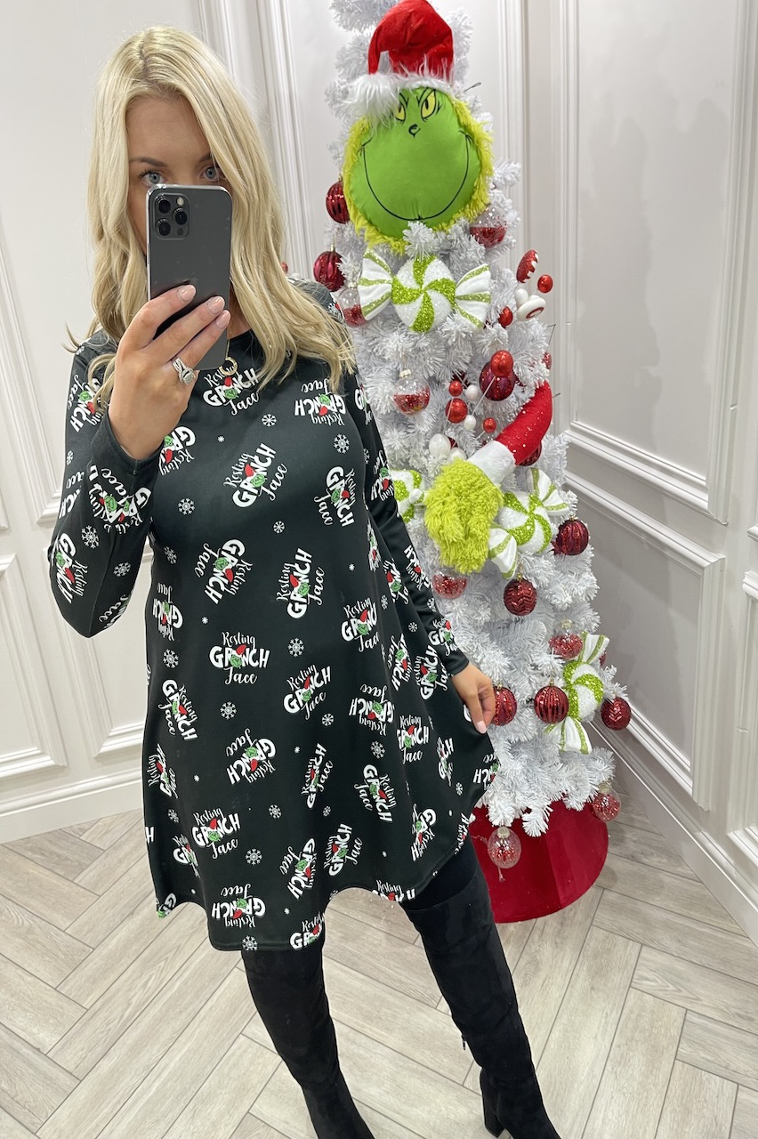 Resting Grinch Face Black Christmas Swing