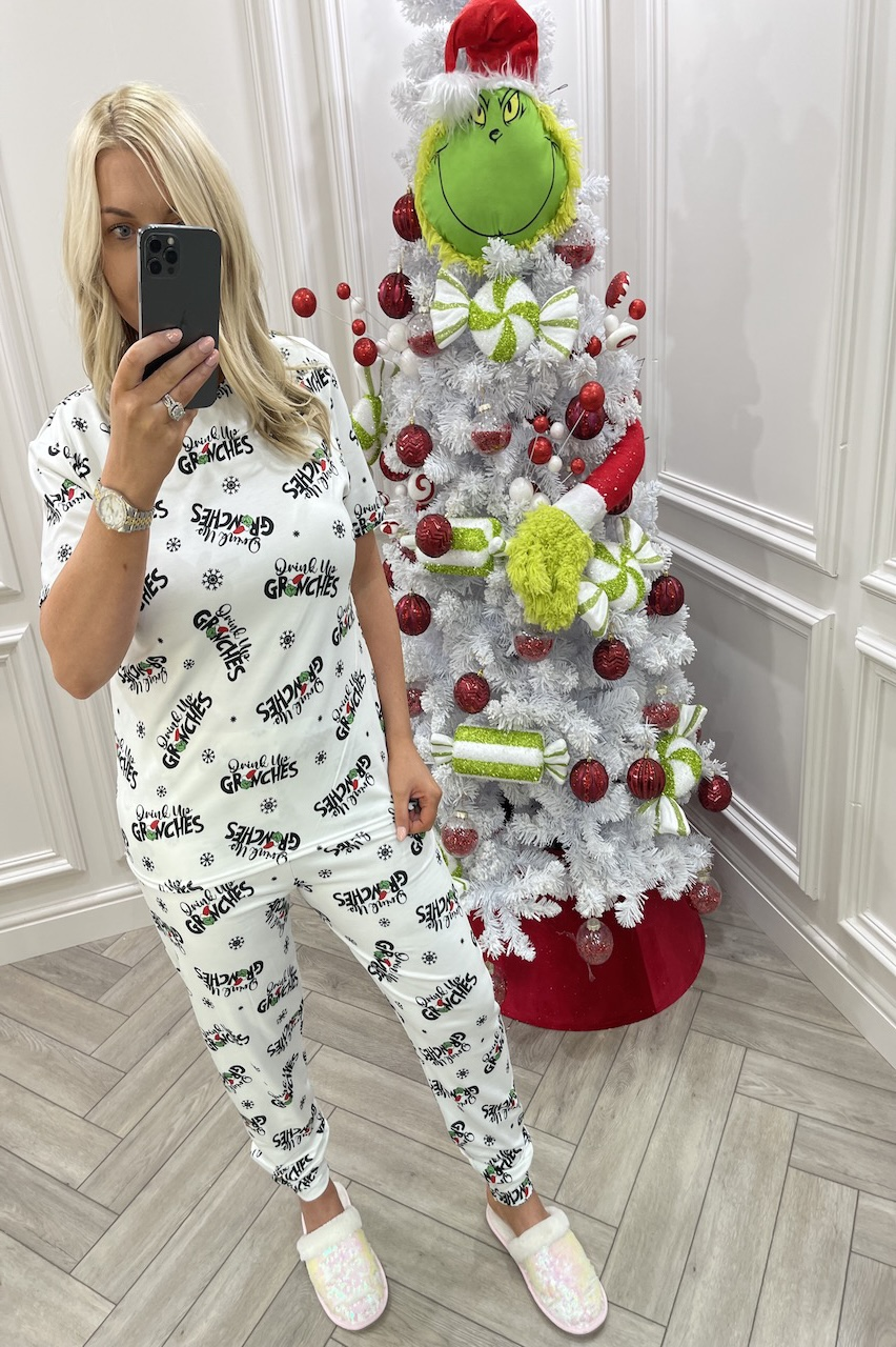 """White """"Drink Up Grinches"""" Christmas Pj's"""