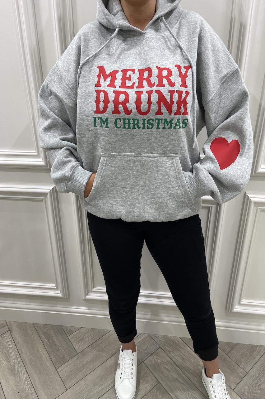 Grey 'Merry Drunk I'm Christmas' Hoodie