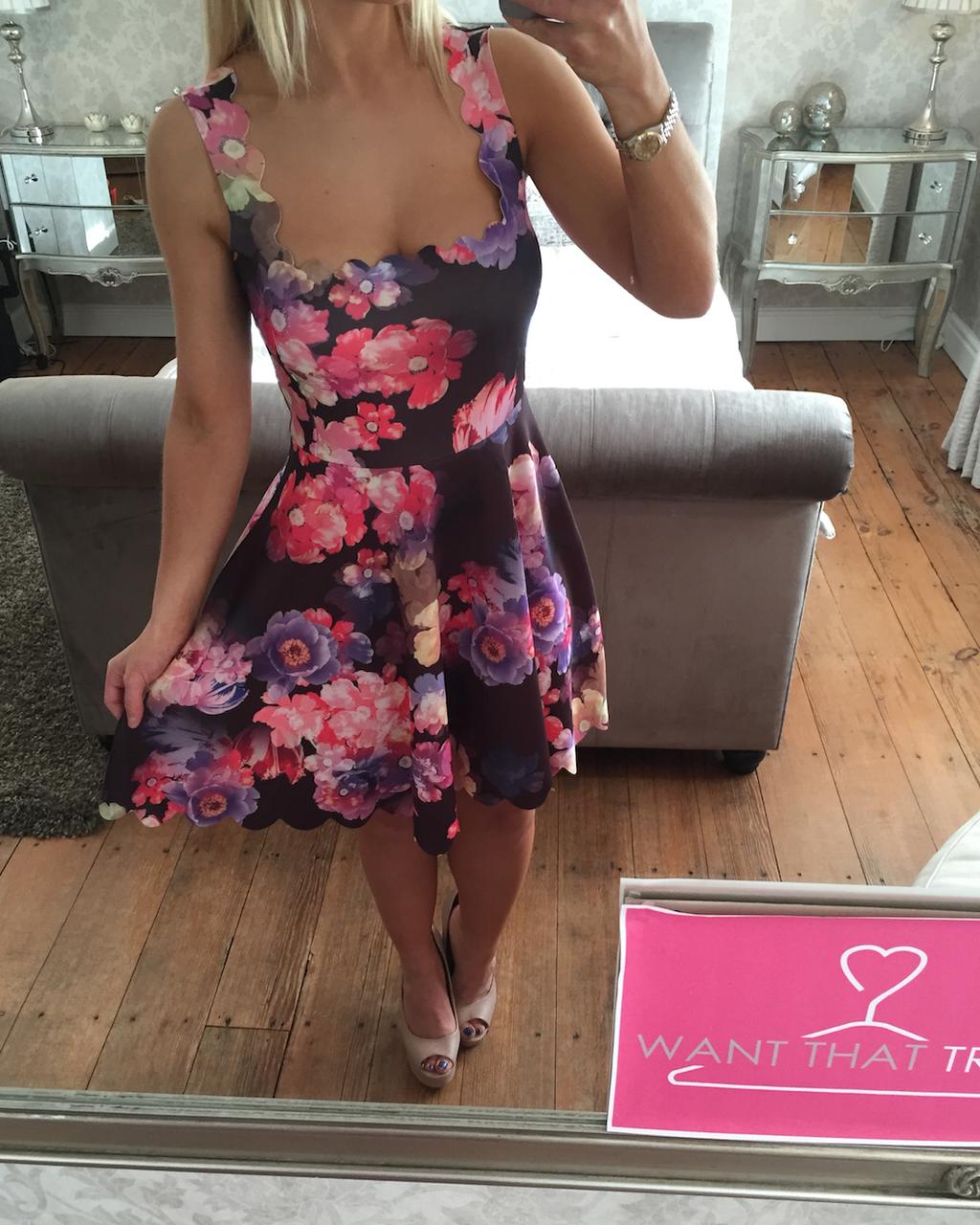 Suzie Floral Scallop Skater Dress