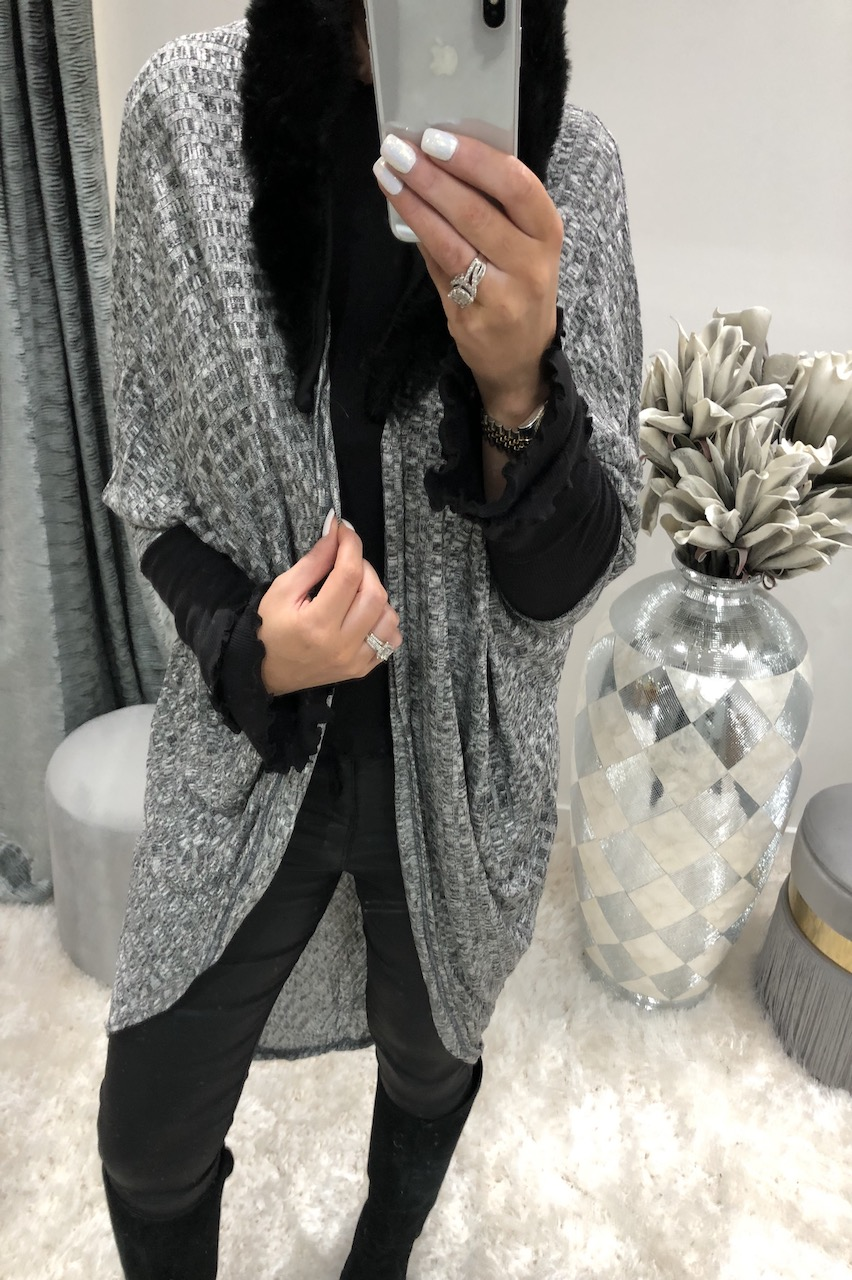 Grey Batwing Cardigan Fur trim