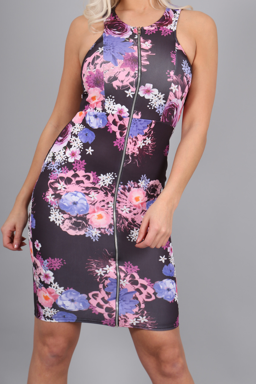 Tiffany Purple Zipped Bodycon
