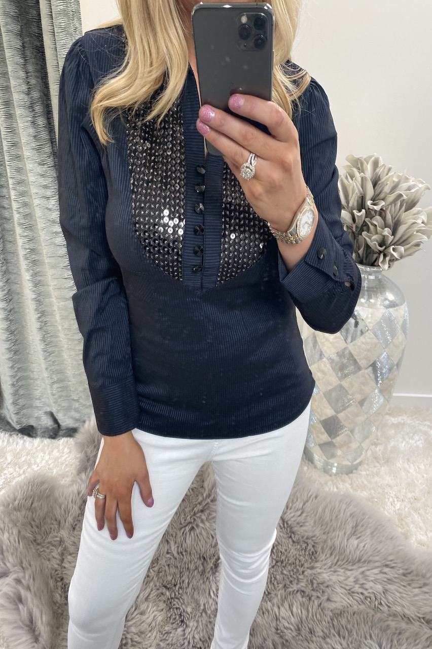 Navy Sequin Shirt