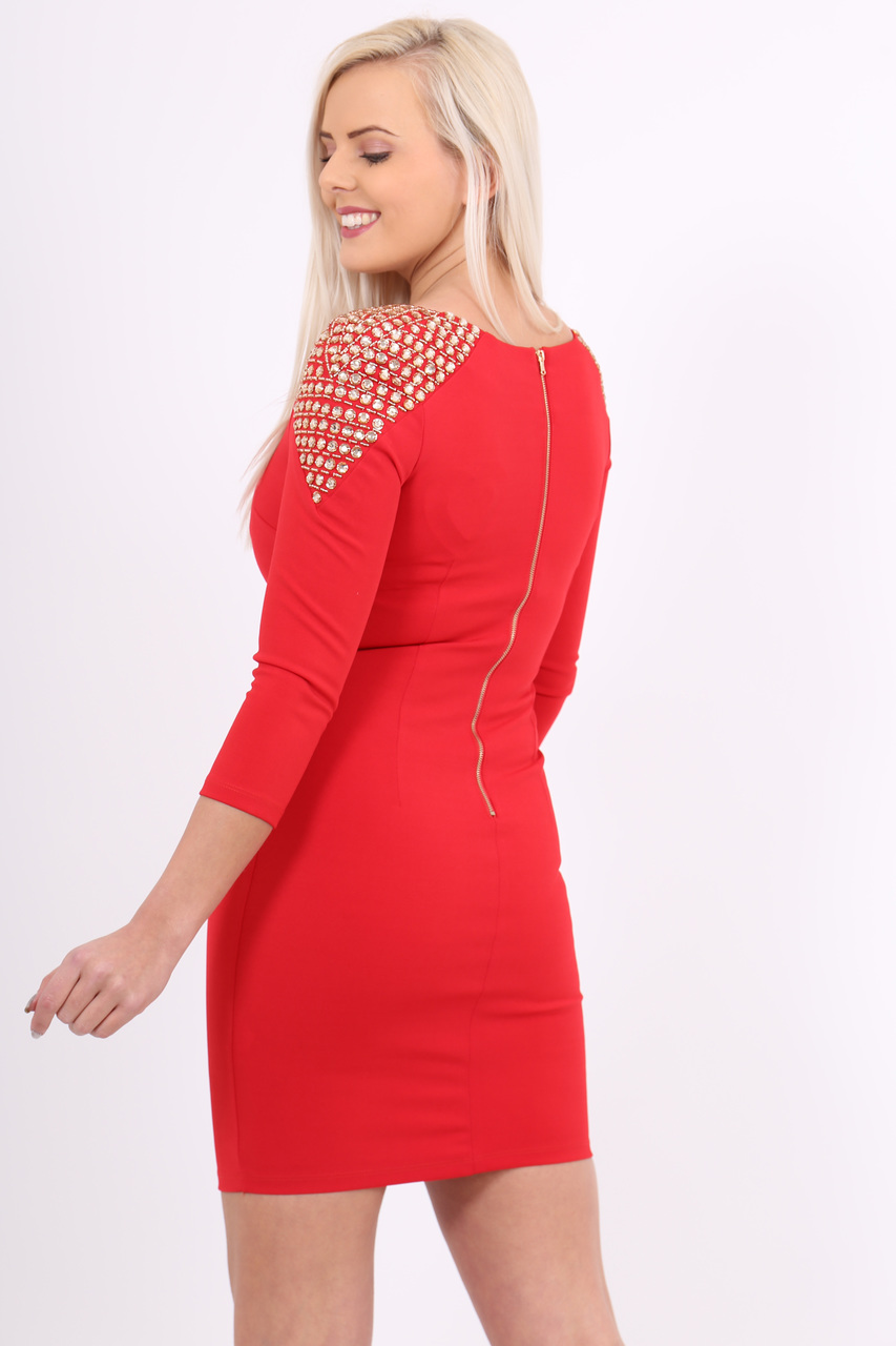 Lux Red Anastasia Jewel Bodycon Dress