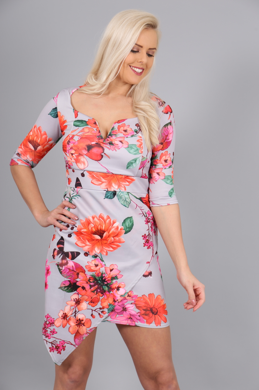 Grey Lourdes Bodycon Dress