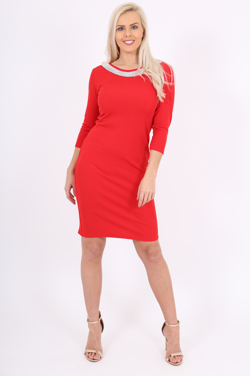 Red Empire Bandage Dress