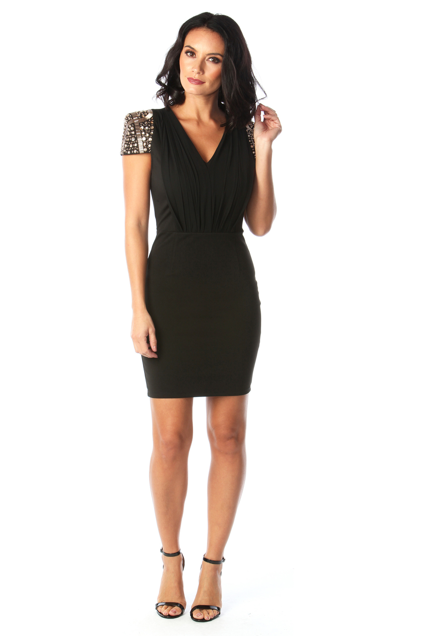 Lux Lia Black Embellished Bodycon Dress