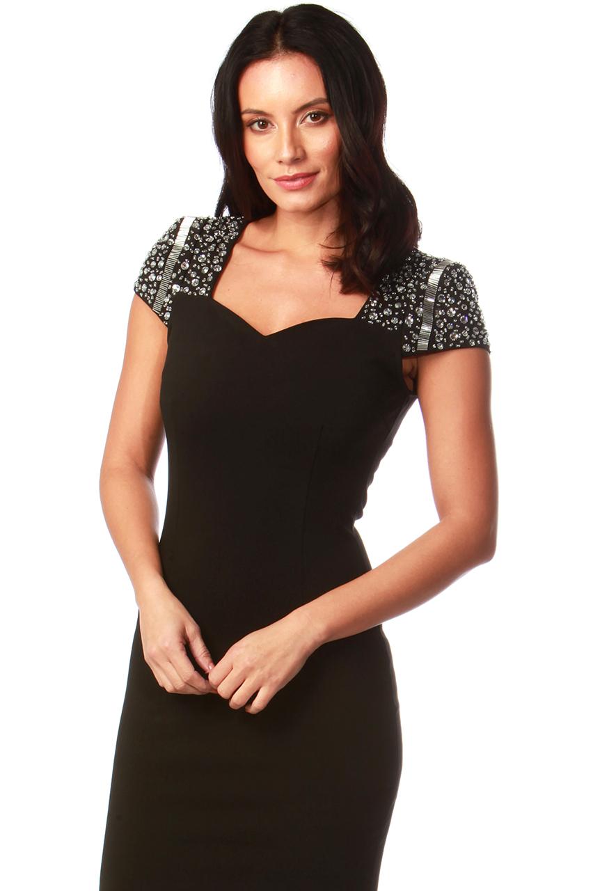 Lux Heiress Black Diamond Bodycon Dress