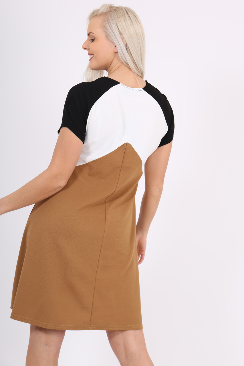 Beige Colour Block Mesh Swing Dress