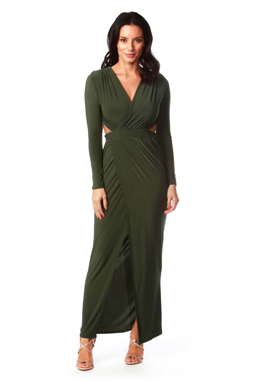 Athena Khaki Wrap Maxi Dress