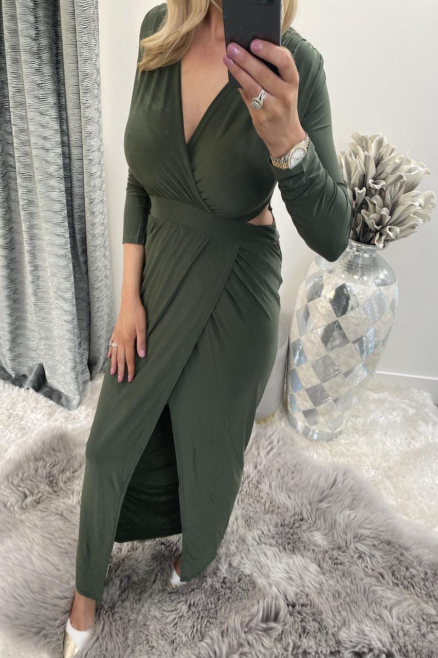 Athena Khaki Wrap Maxi Dress