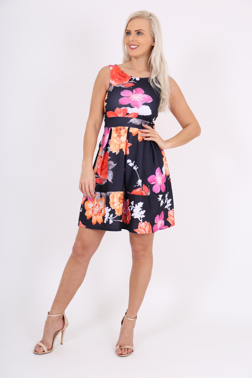 Tanya Black & Orange Floral Skater