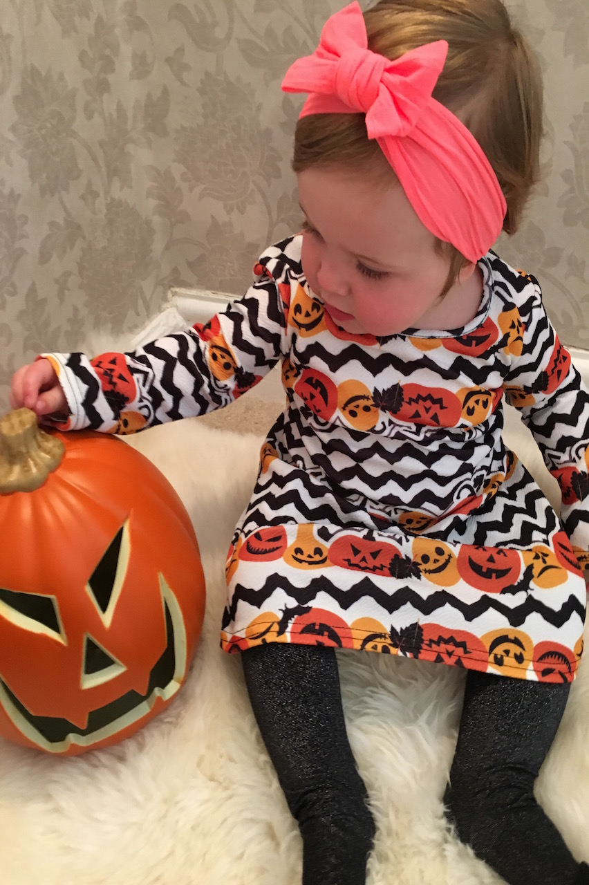 Children's Pumpkin Strata Halloween Swing Dress