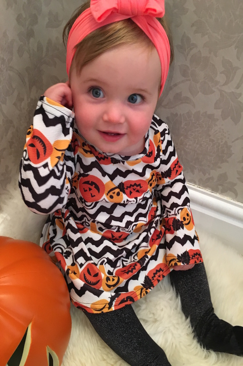 Children's Pumpkin Strata Halloween Swing Dress