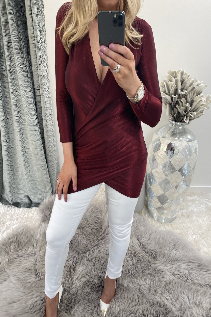 Burgundy Sparkle Wrap Tunic Top