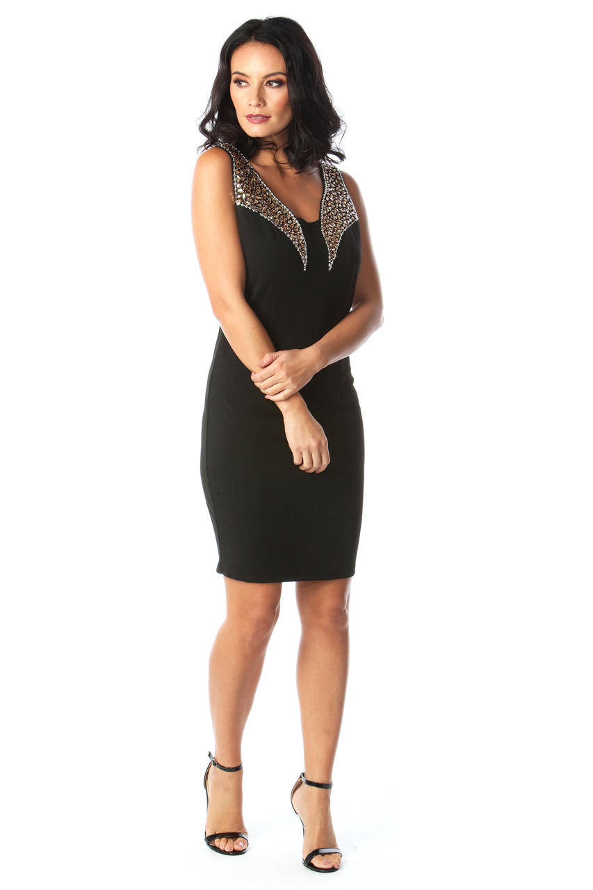 Lux Java Black Diamond Bodycon Dress