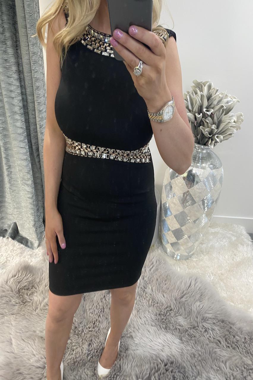 Lux Rafael Black Diamond Bodycon Dress