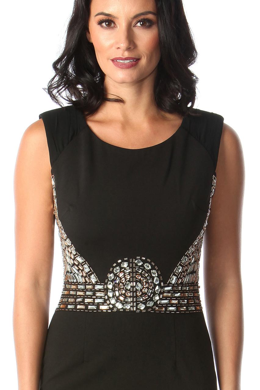 Lux Hayley Black Diamond Bodycon Dress