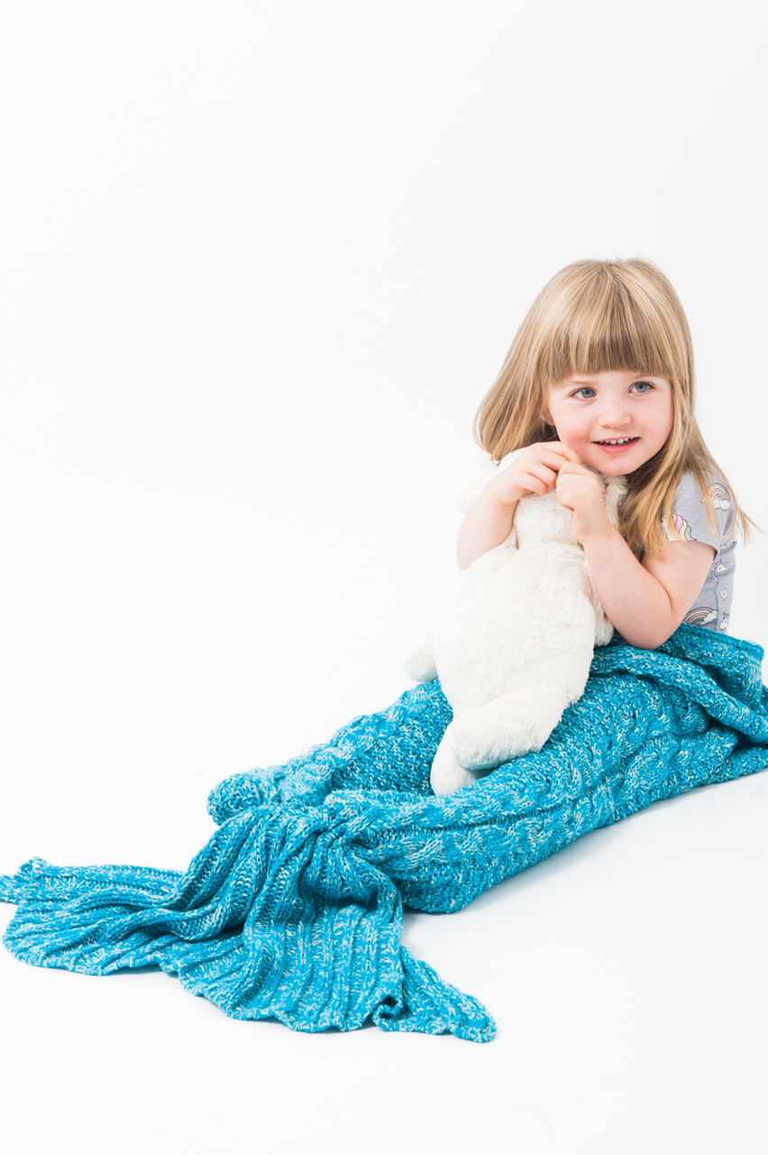Luxury Ariel Aqua Children's Mermaid Knitted Sleeping Bag