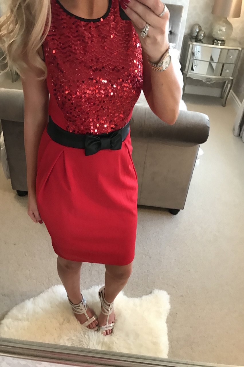 Romano Red Sequin Bow Bodycon Dress