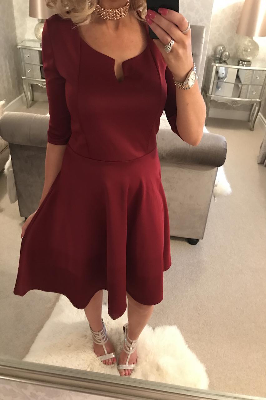 Mega Buy Wine Britt Skater Dress