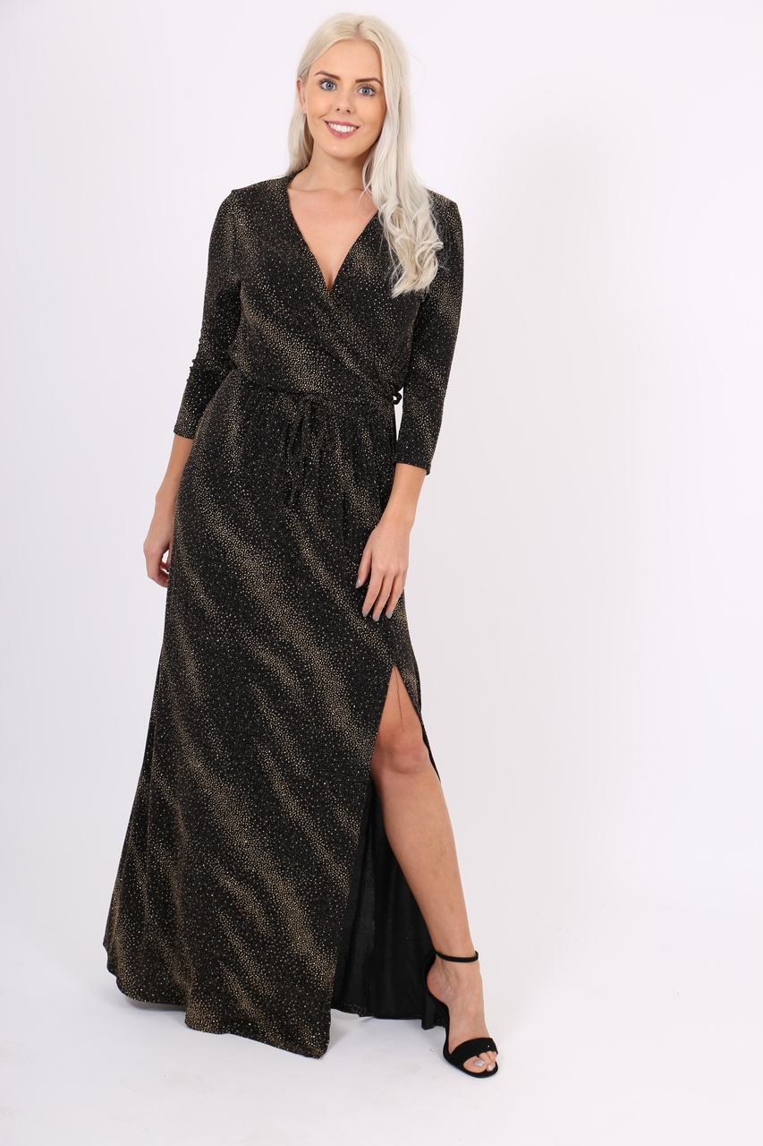 Galaxy Black Glitter Maxi Dress
