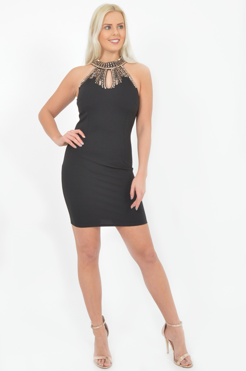 Black Berlin Jewel Bodycon