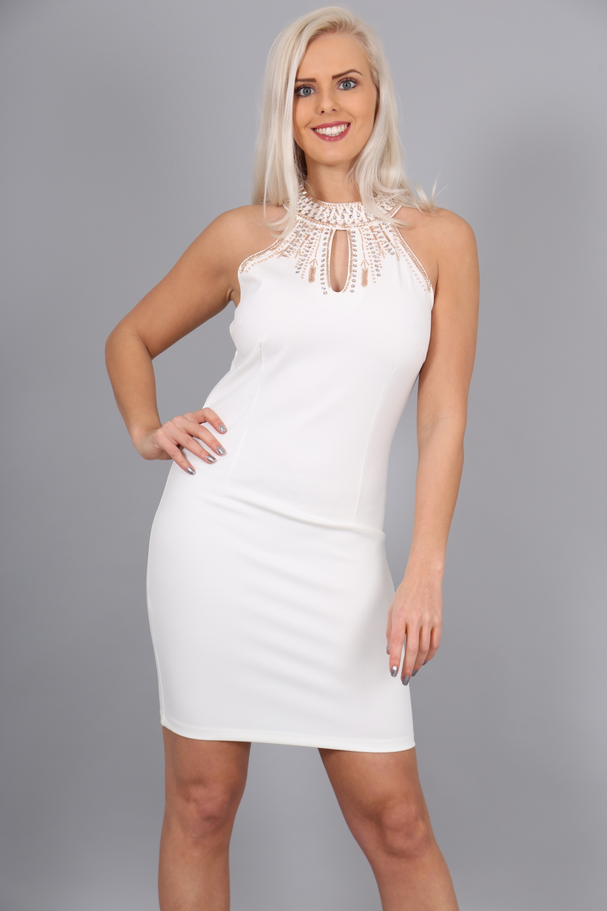 White Berlin Jewel Bodycon Dress