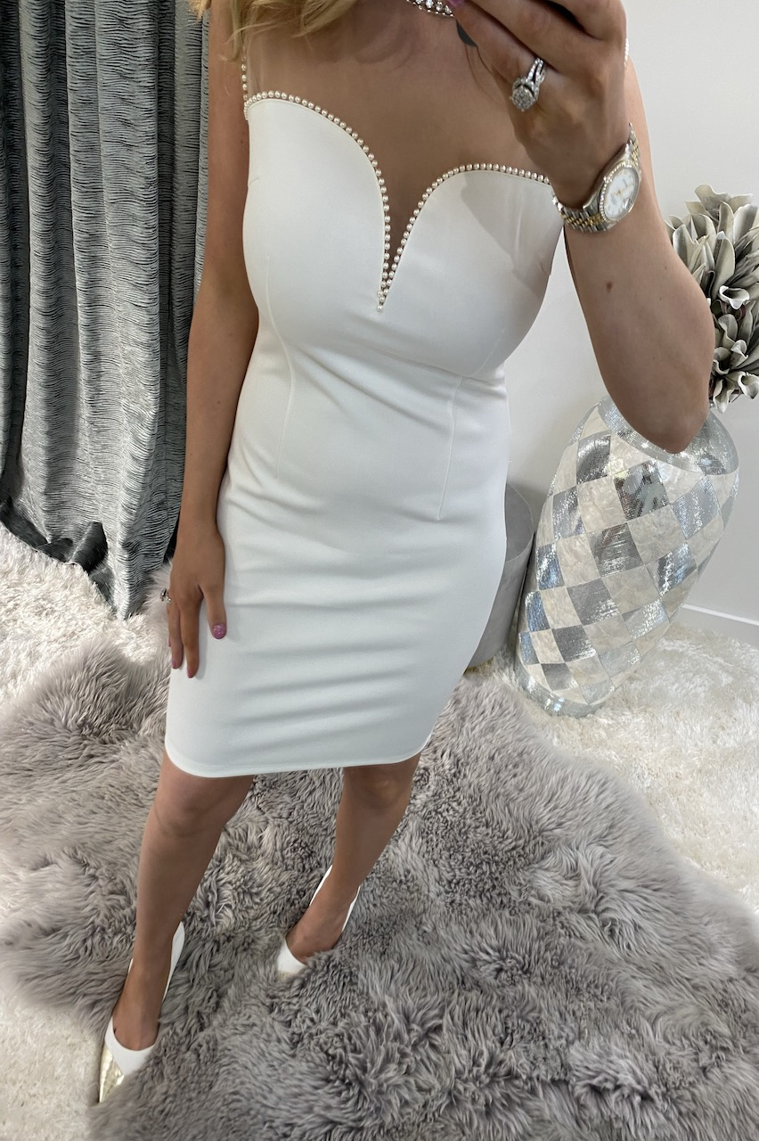 Lux Cream Florence Mesh Bodycon Dress