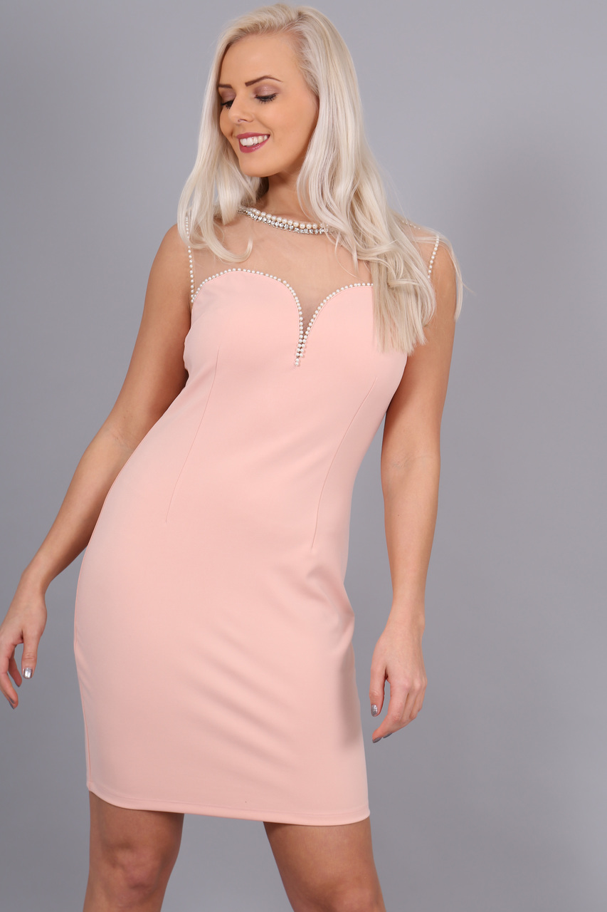 Lux Blush Florence Mesh Bodycon Dress