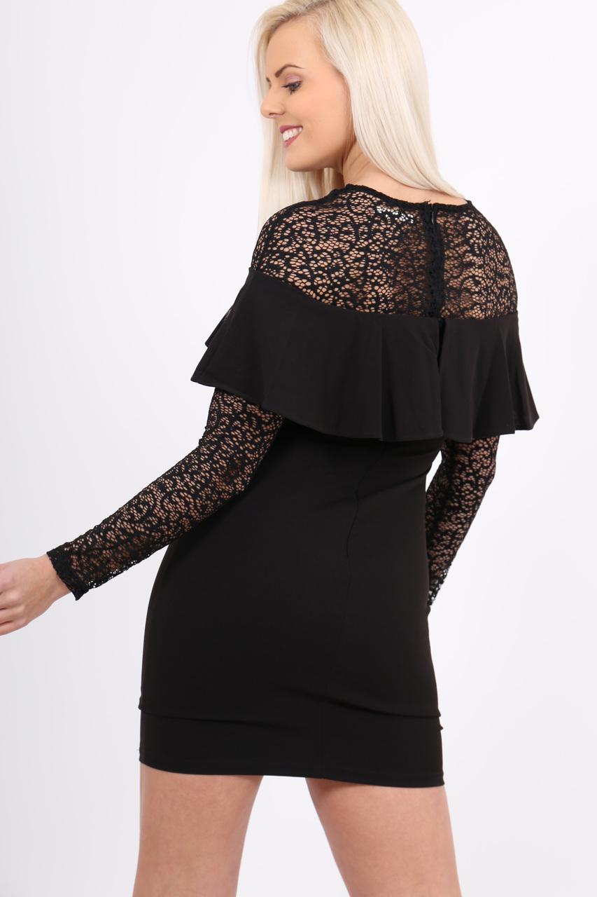 Jasmine Black Bardot Frill Lace Midi Dress