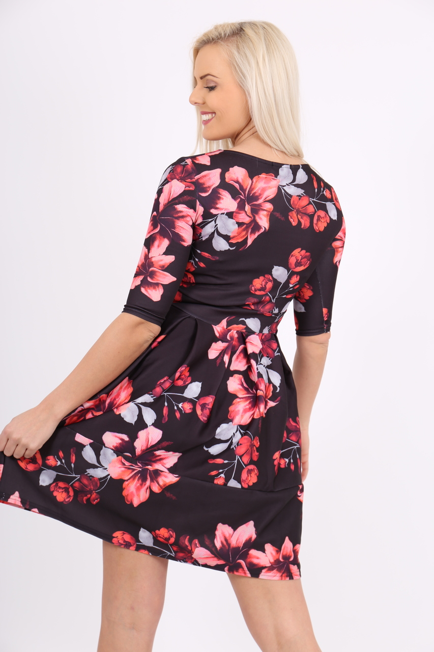 Elsie Red Floral Skater Dress