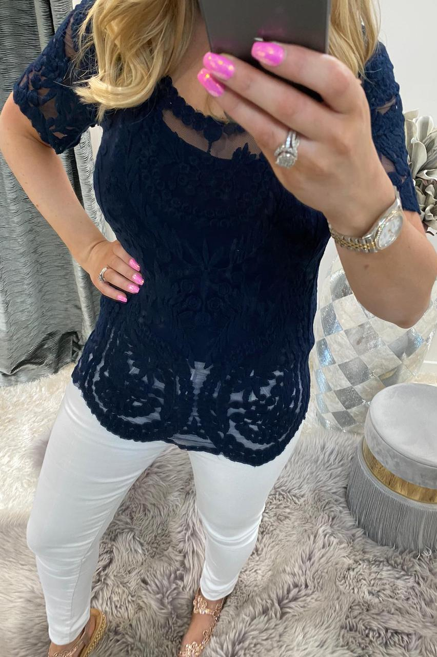 Navy Kennedi Crochet Top with Camisole