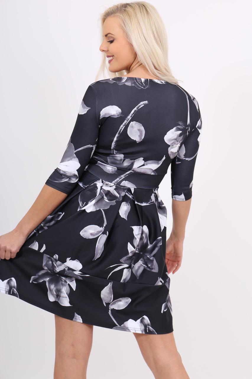 Lavinia Black Floral Britt Skater Dress