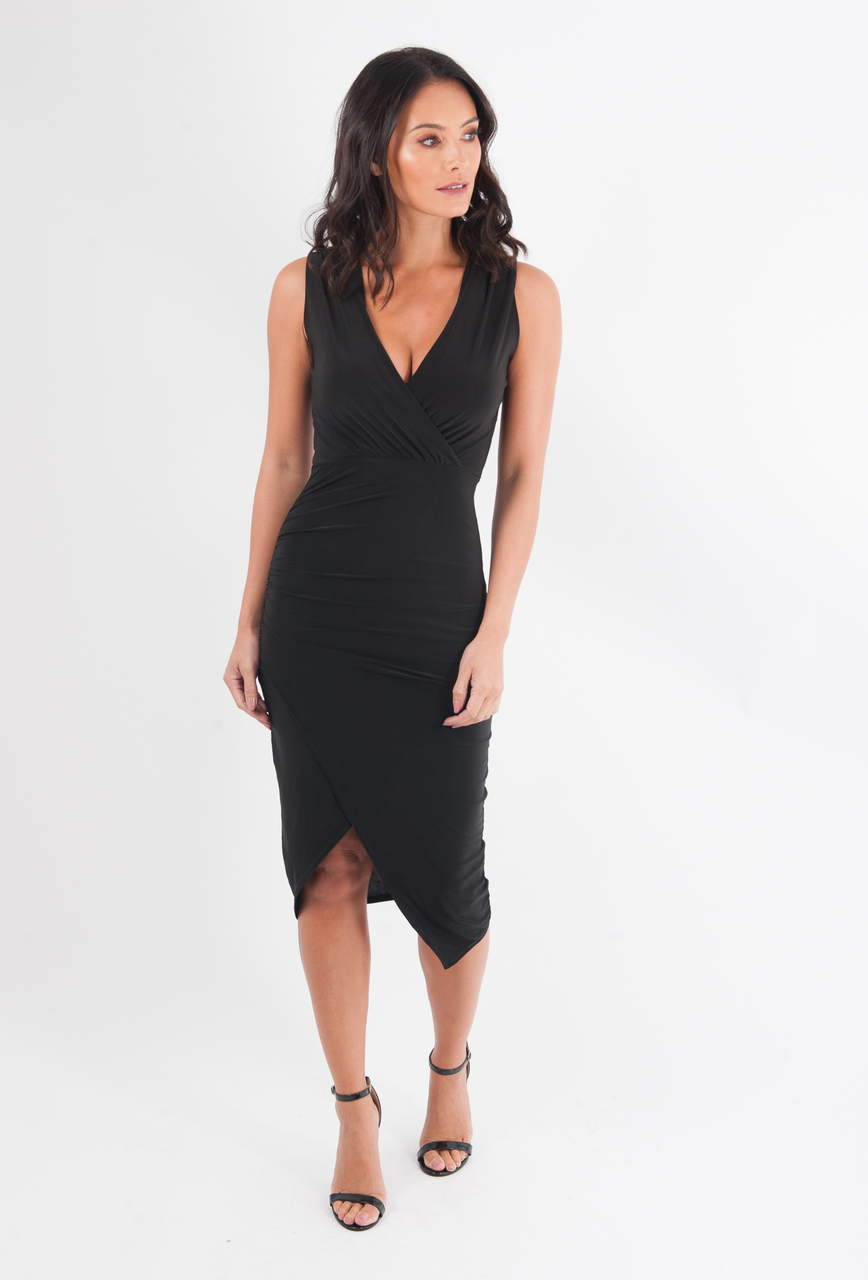Black Wrap Bodycon Dress
