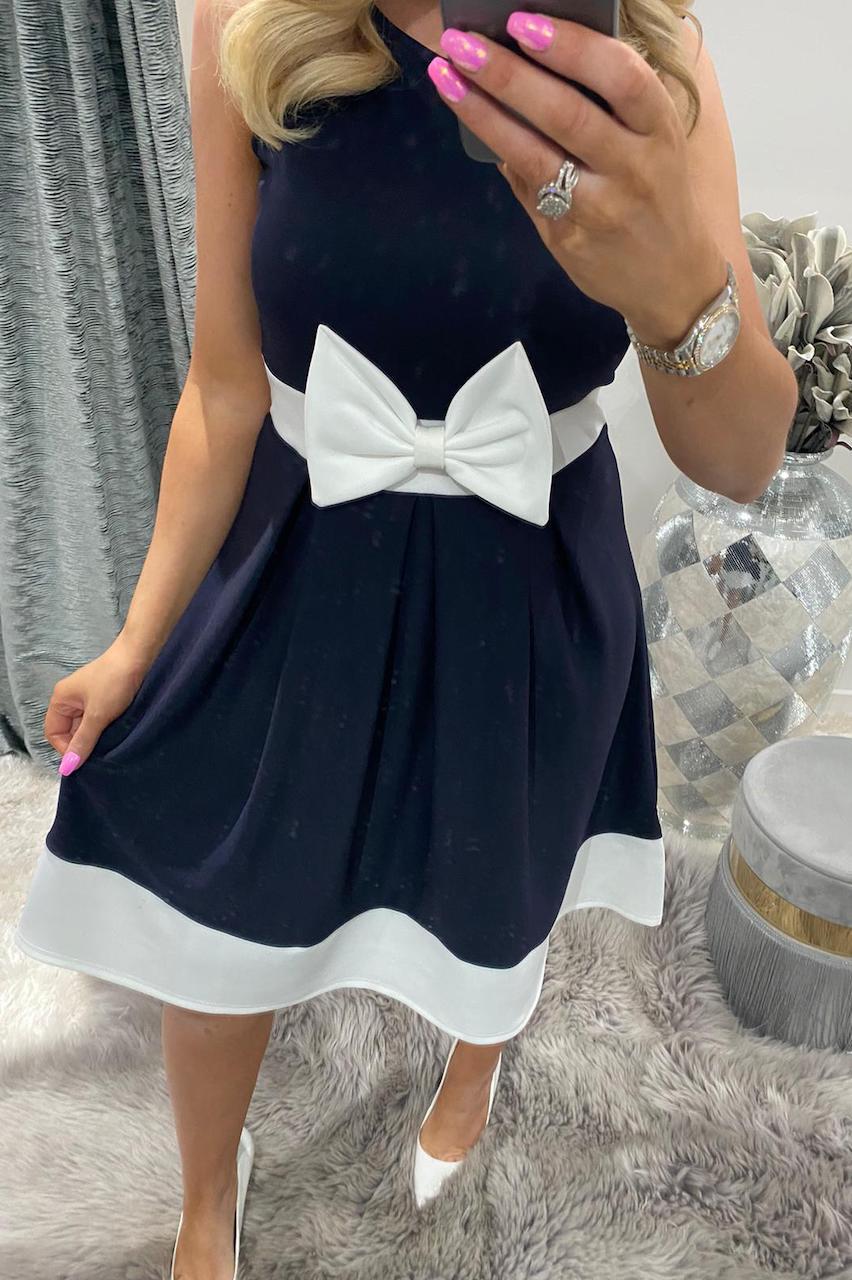 Navy Bow Skater Dress