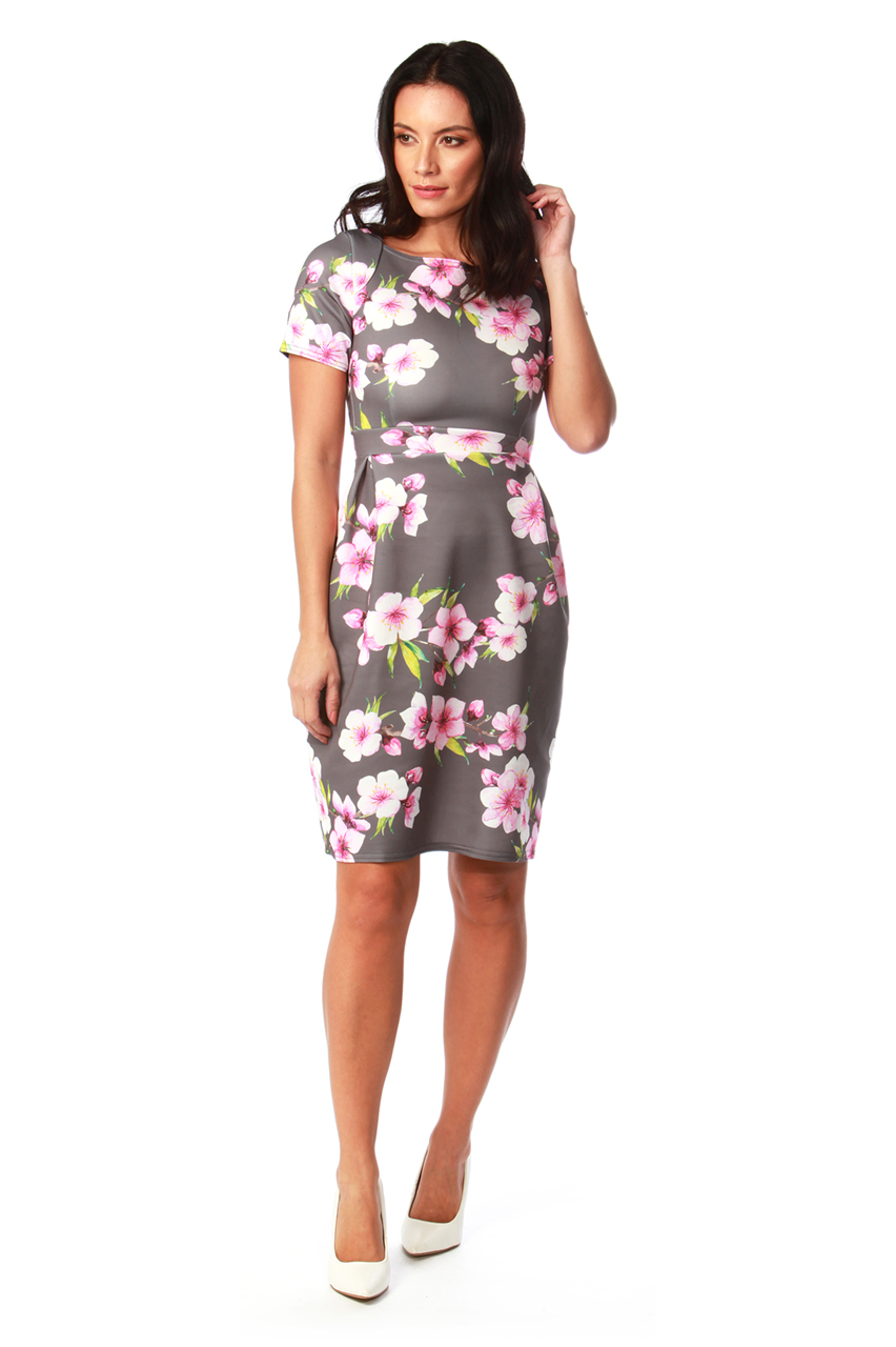 Grey Penelope Floral Tulip Dress