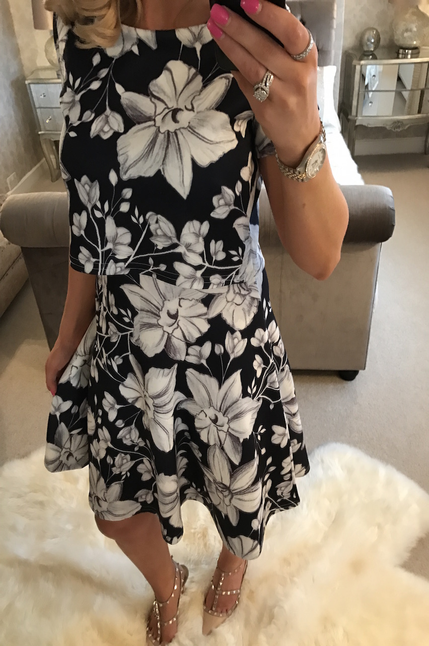 Evie Floral Overlay Skater Dress