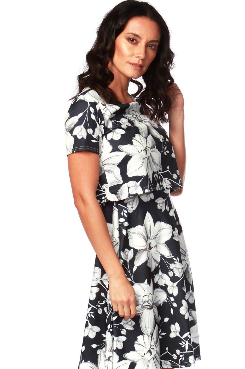 Evie Floral Overlay Skater Dress