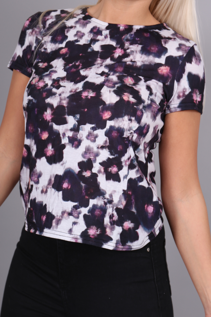 White & Grey Florence Floral T-Shirt