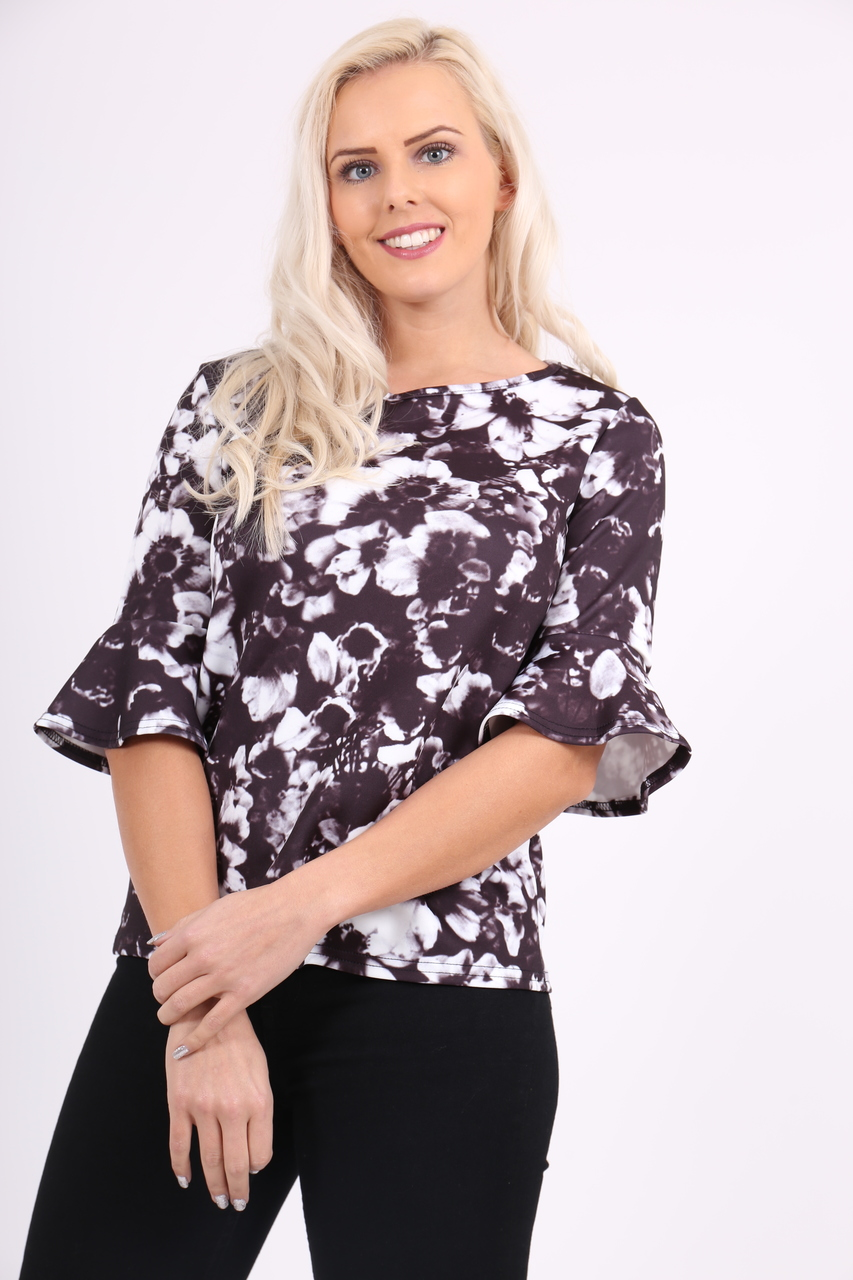 Evelyn Black Flute Sleeve Top