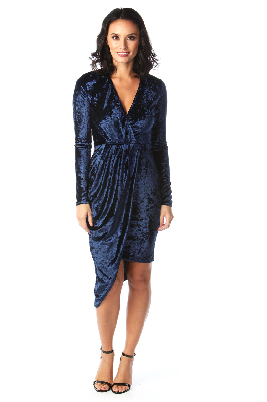 Navy Velvet Sorento Bodycon Dress