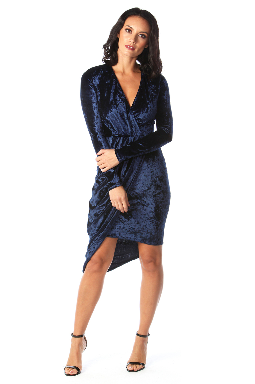Navy Velvet Sorento Bodycon Dress