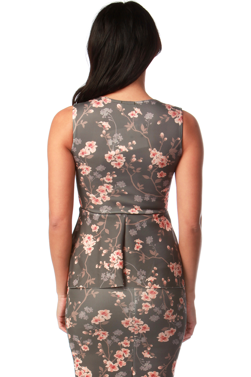 Katie Floral Peplum Bodycon Dress