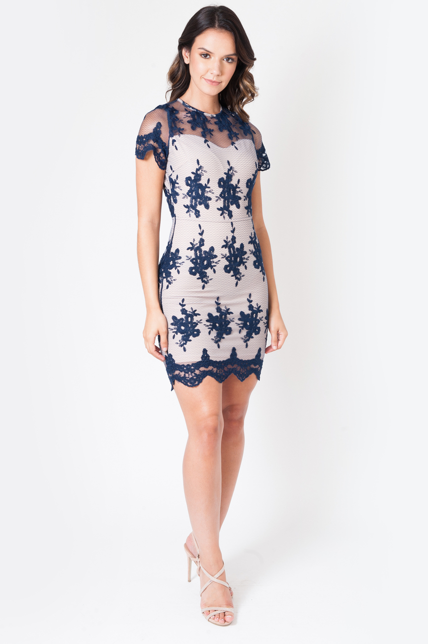 Navy Heather Lace Bodycon Dress